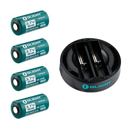 RCR123 battery pack with charger (4xRCR123 + 2 bay charger)